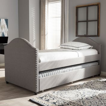 Baxton Studio Alessia Modern and Contemporary Grey Fabric Upholstered Daybed with Guest Trundle Bed Set of 1