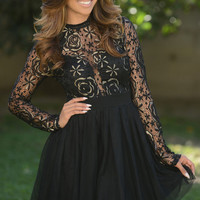 Lace Long Sleeve Back Cutout A-Line Mini Skater Dress