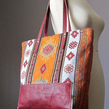 Bohemian Leather Shoulder Tote Bag, Fabric Leather bag, Shopping bag, Modern Hippie bag, Boho bag carry all bag, Handmade by VitalTemptation