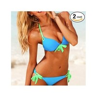 2pcs Sexy Ladies Women Push up Padded Bikini Trikini Swimwear Swimsuit (Blue, L)