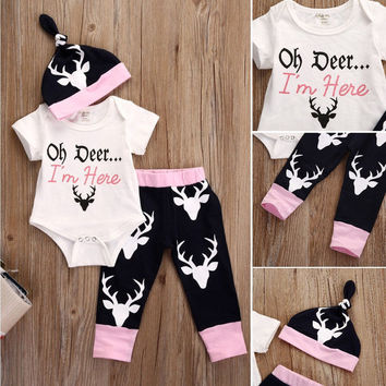 3 Pcs Newborn Kids Baby Girl Deer Outfit Set Infant Babies Kid reindeer Bodysuit Onesuit Tops+Pants+Hat Xmas Outfits Set Clothing