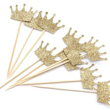 PuTwo 10 Counts Gold Glitter Crown Cupcake Toppers Birthday Party Cake Toppers Birthday Cake Decorations