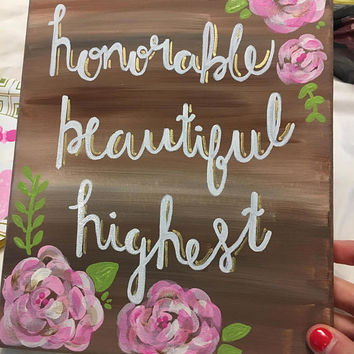 Kappa Delta Honorable Beautiful Highest Canvas // Sorority // Floral