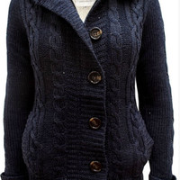 Hooded Cardigan with Faux Fur Lining - Navy