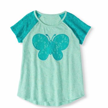 Girls' Lace Applique and Sleeve TopGirls' Lace Applique and Sleeve Top