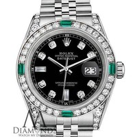 Women's Rolex Datejust 36mm Steel Black Emerald Diamond Dial Watch With A Track