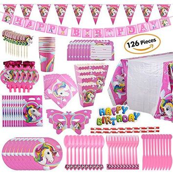 Unicorn Party Supplies Set with Disposable Tableware, Cake Toppers, Party Hanging Decoration Kit, Blowouts, Eye Masks, Invitation Cards &Gift Bags Kids Party Favors (party set)
