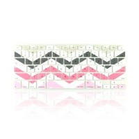 "TopCase Chevron Zig - Zag Silicone Keyboard Cover Skin for Macbook 13"" Unibody / Macbook Pro 13"" 15"" 17"" with or Without Retina Display / New Macbook Air 13"" / Wireless Keyboard + Topcase Design Chevron Mouse Pad (GRAY / PINK)"