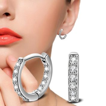 STYLEDOME Stud Earrings 925 Sterling Crystal Row Luxury Silver Earrings For Women Earings Fashion Jewelry Female Brinco Earing oorbellen