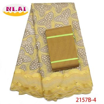 Yellow Swiss Voile Lace Fabric High Quality Lace With Aso Oke 2018 Latest African Dry Lace Fabric For Party Dress NA2157B-2