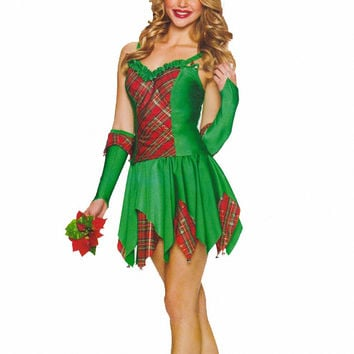 Green Holiday Costume A-Line Pleated Mini Skirt Set