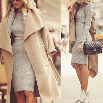 Long Sleeve Knit Fashion Bodycon Two-Piece