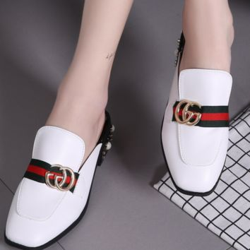 GUCCI Fashion summer new pearl slippers sandals shoes White
