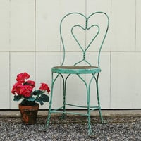 Ice Cream Parlor Chair, Mint Green Sweetheart Twisted Iron Chair, Shabby Chic Chippy Green Chair, Wire Bistro Chair, Soda Fountain