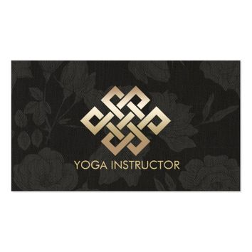 Yoga Instructor Gold Eternity Knot & Floral Linen Business Card