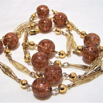 Venetian Sommerso Goldstone Art Glass Bead 33in Necklace, Aventurine, Gold Tone Decorative Links,  Murano Italy Jewelry, Mid Century  317
