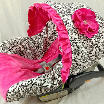 Damask with Hot Pink Minky Center and hot pink accents Infant Car Seat Cover with Matching Neck Strap Set