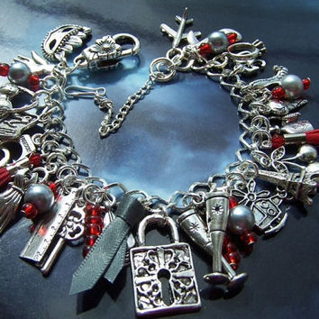 Charm Bracelet Fifty Shades of Grey Themed Mask Tie Floggers = Valentines