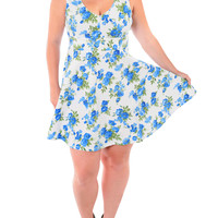 Plus Size Floral Eminence Blue Skater Dress, Plus Size Clothing, Club Wear, Dresses, Tops, Sexy Trendy Plus Size Women Clothes