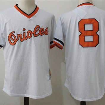 ONETOW Men's Baltimore Orioles Cal Ripken Jr. Mitchell & Ness White 1985 Authentic Cooperstown Collection Batting Practice Jersey