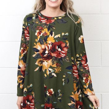 Handkerchief Floral Suedette Tunic Top {Olive Mix}