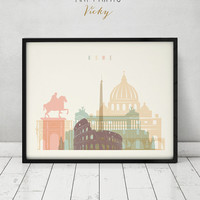 Rome print, Poster, Wall art, Italy cityscape, Rome skyline, City poster, Typography art, Gift, Home Decor Digital Print, ART PRINTS VICKY.