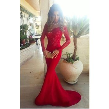 Long Sleeve Lace Prom Dress Elegant Red Mermaid Prom Gown Dresses for Party 2016 Vestido De Festa MB3171