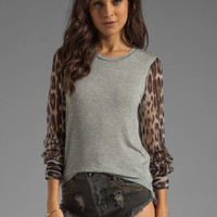 Charles Henry Knit Pullover with Printed Sleeves in Leopard from REVOLVEclothing.com