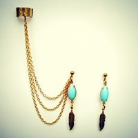 blue stone and feather ear cuff earrings