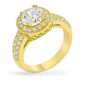 Darcy 4ct CZ 14k Gold Art Deco Engagement Ring