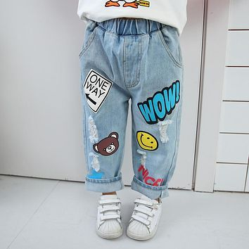 Girl Jeans Boys Ripped Jeans Spring Autumn Casual Baby Girls Pants Loose Children Denim Pant Kids Casual Trousers Jeans