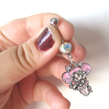 Sailor Moon Bellybutton Piercing - CHIBI MOON Belly iridescent botton jewelry