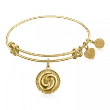 Expandable Bangle in Yellow Tone Brass with Yin And Yang Perfect Balance Symbol