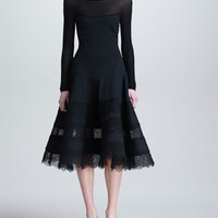 Lace & Jersey Long-Sleeve Dress, Black