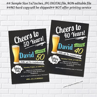 cheers and beers invitation.  Beer birthday chalkboard design Beers 30th 40th 50th 60th 70th 80th 90th birthday any age- card 694