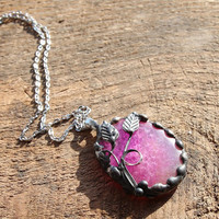 Big large fall slice Agate radiant orchid stone birthstone fuchsia pink violet metalwork, statement pendant necklace chain
