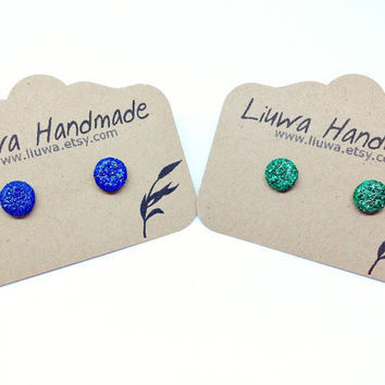 Canuck Glitter Dot Post Earrings, Polymer Clay Studs, Stainless Surgical Steel Posts