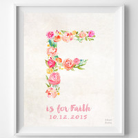 Personalized, Print, Faith, Custom Name, Nursery Art, Baby Shower, Monogram, Farrah, Fanny, Frances, Faye, F, Baby, Initial, Girl