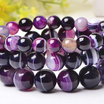 Unisex Purple Agate Natural Stone Beads Bracelet