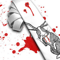 "Horror movie necktie ""Bloody  Rabbit  Monster"" for your Mad Men. Halloween and scarry movie necktie."