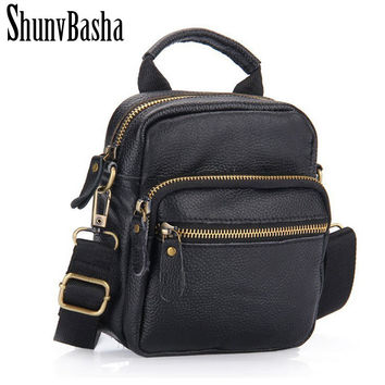 2017 Men Genuine Leather Messenger Bag Shoulder Handbags Vintage Men  Cross bord Bags Genuine Leather Small Men's Travel Bags