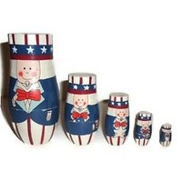 Fourth of July Uncle Sam Nesting Dolls - Used