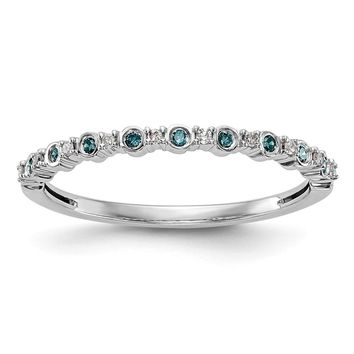 14k White Gold Bezel Set Blue Diamond And White Diamond Thin Anniversary Band