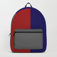 Red and Blue Color Block Backpack by tropicdesign2018