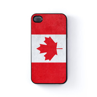 Subtle Grunge Flag - Canada Flag - Canadian Flag - Flag of Canada Black Hard Plastic Case for iPhone 4/4s by World Flags