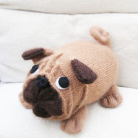Decorative Pillow - Soft Dog - Stuffed Pug Carlin Mops Dog - Throw Pillow - Cushion - Hand knitted cushion