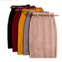 Autumn winter Skirts Womens Saia Knitted Elasticity Slim Package Hips Pencil Skirt Faldas Ladies Autumn Knee-length Knitt Skirt