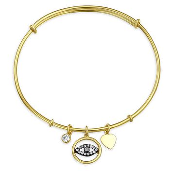 Evil Eye Heart Charm Bangle Bracelet CZ 14K Gold Plate Sterling Silver