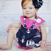 Navy Flower Headband, Navy Baby Flower Headband,  Baby Headband, FOE Headband, Fabric Flower Headband, Newborn Headband