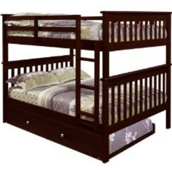Bunk Bed Full over Full with Trundle in Cappuccino